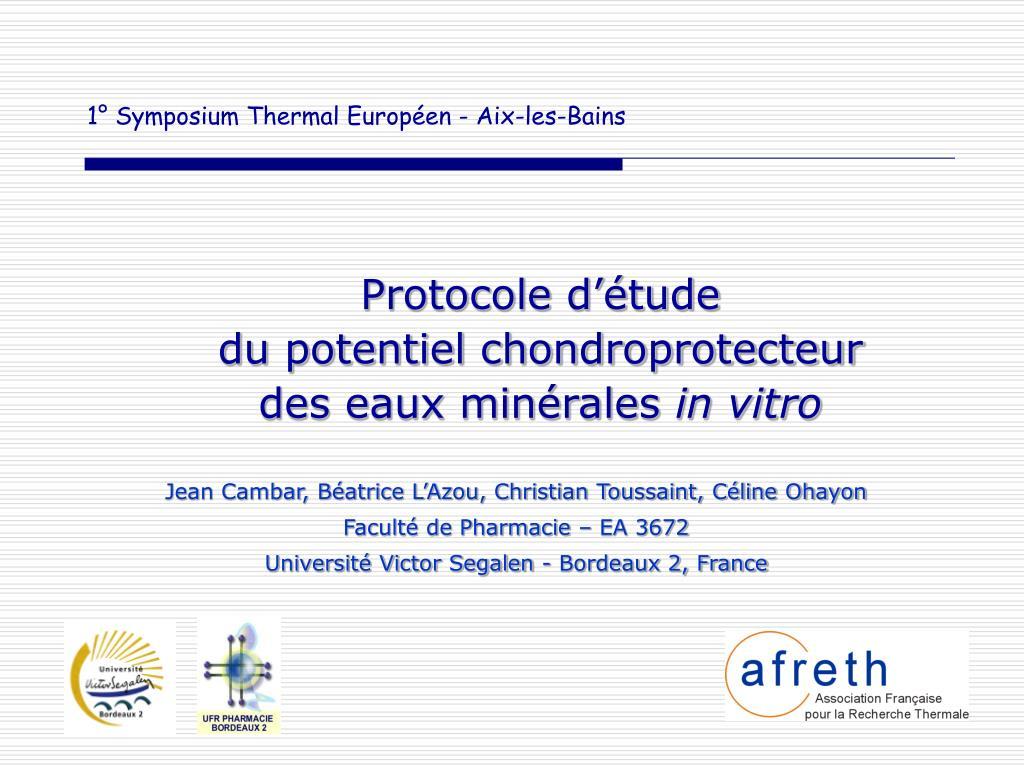 1 symposium thermal europ en aix les bains l.