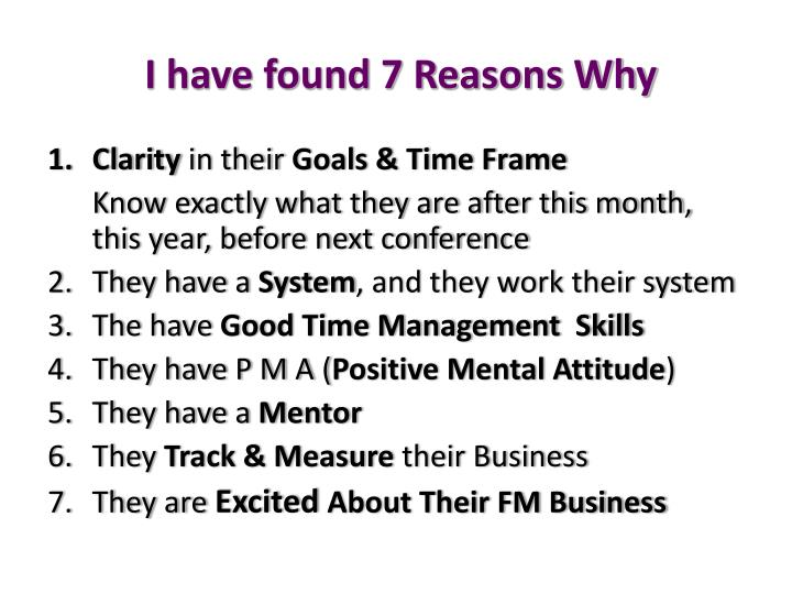 I have found 7 reasons why