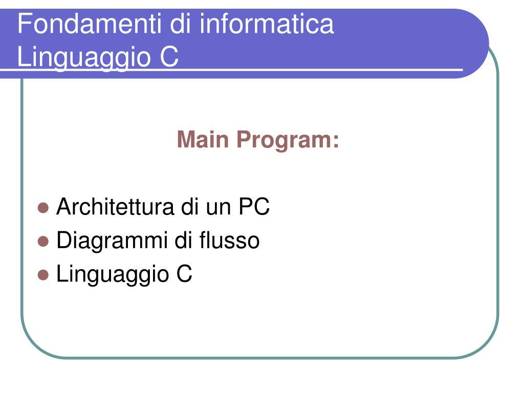 fondamenti di informatica linguaggio c l.