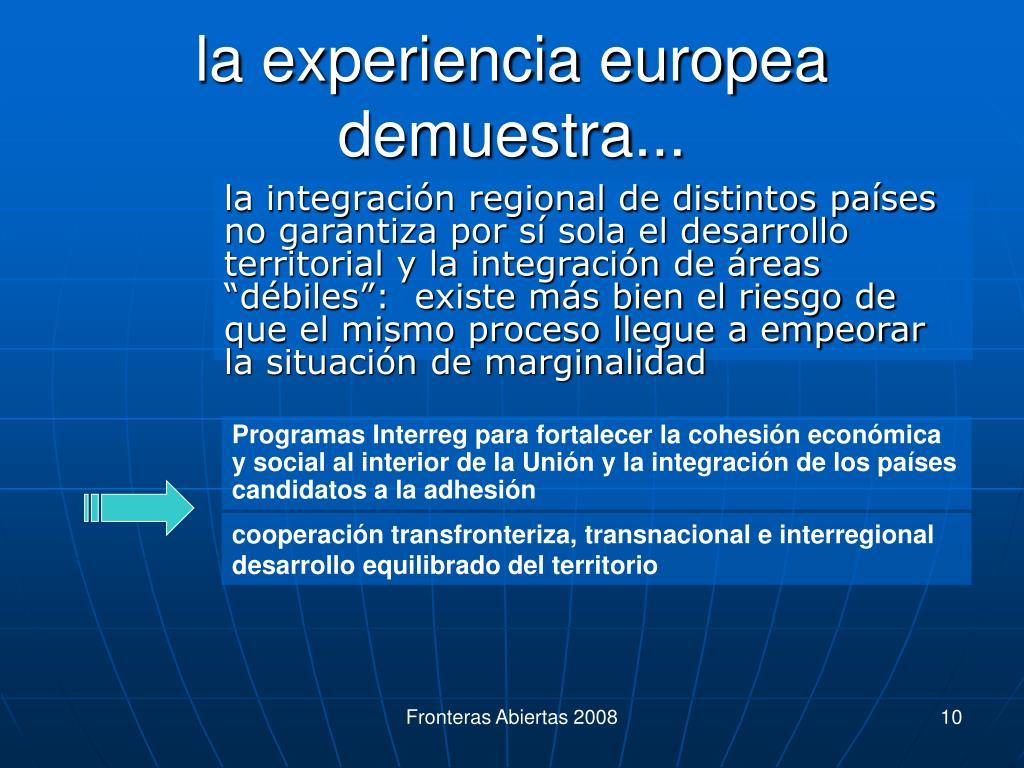la experiencia europea demuestra...