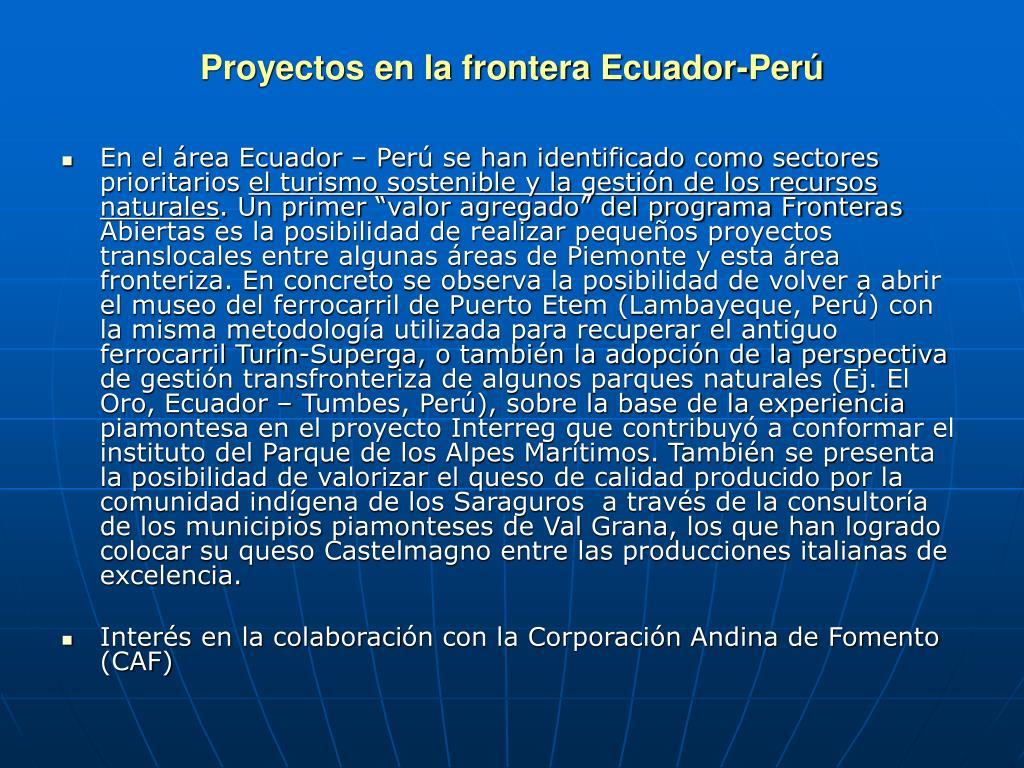 Proyectos en la frontera Ecuador-Per