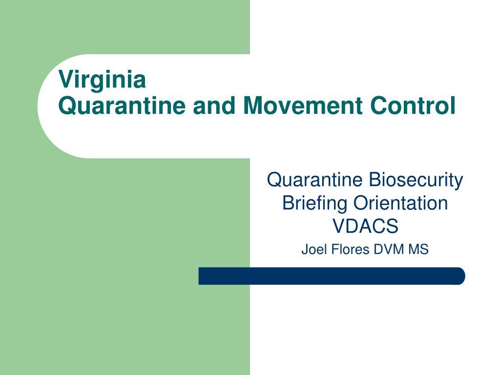 virginia quarantine and movement control l.