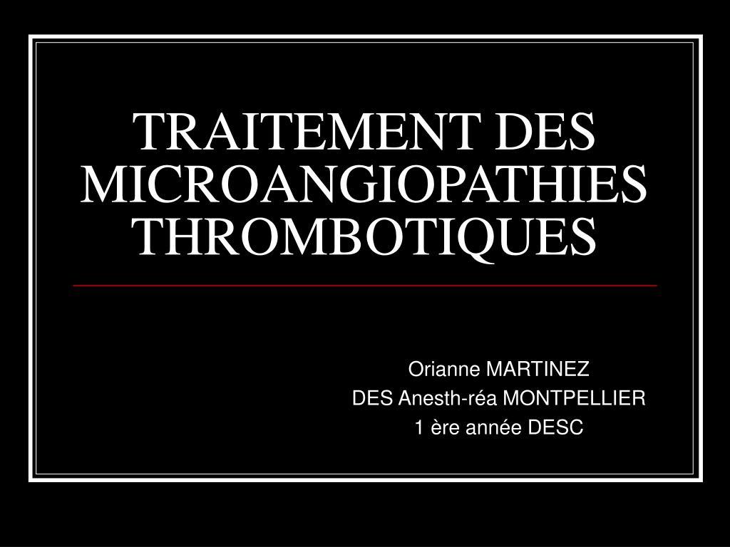 traitement des microangiopathies thrombotiques l.