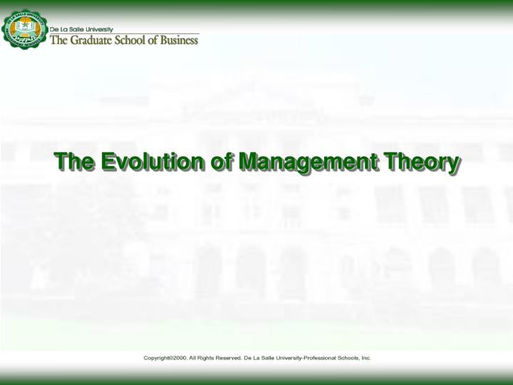 the evolution of management theory n.