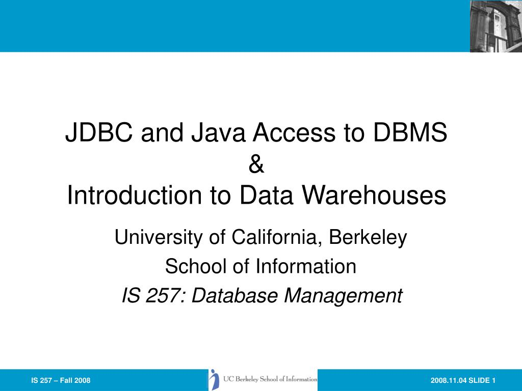 jdbc and java access to dbms introduction to data warehouses l.