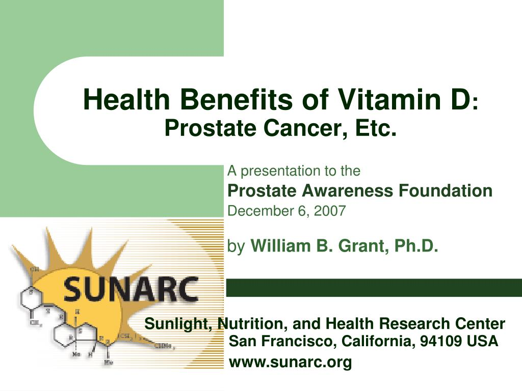health benefits of vitamin d prostate cancer etc l.