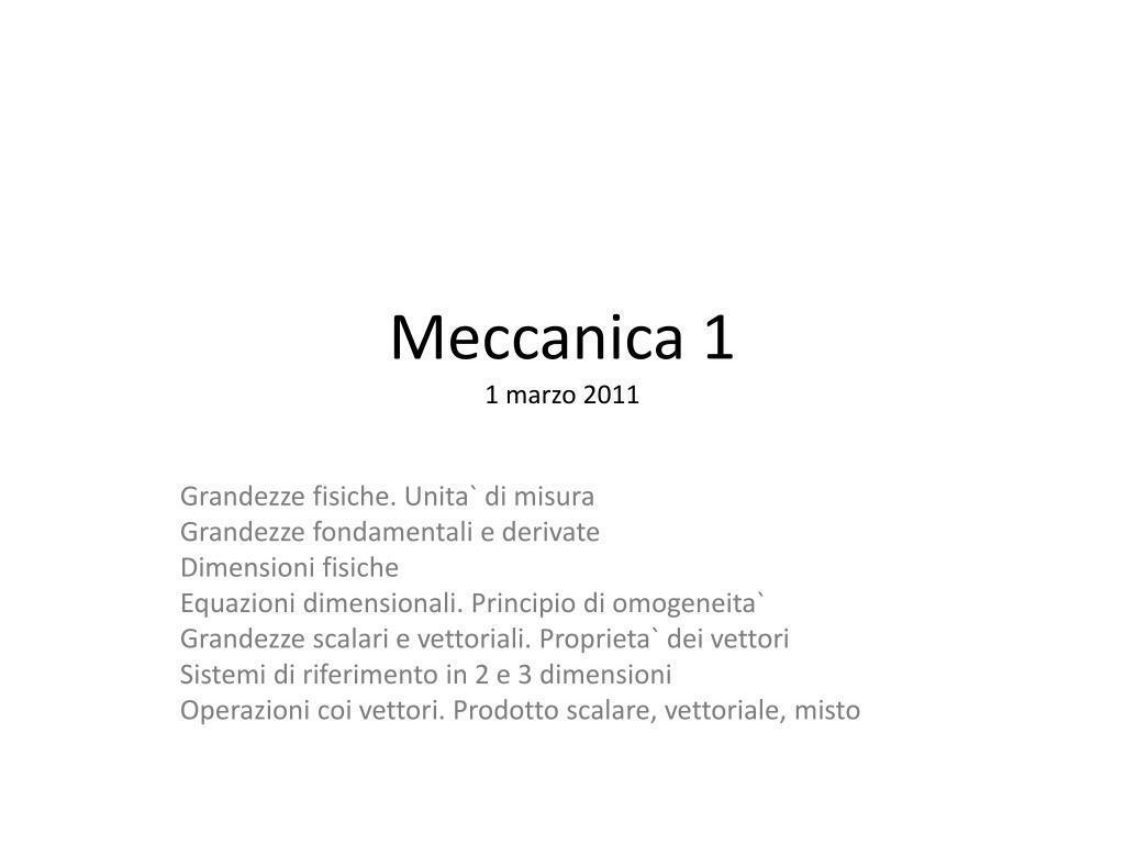 meccanica 1 1 marzo 2011 l.