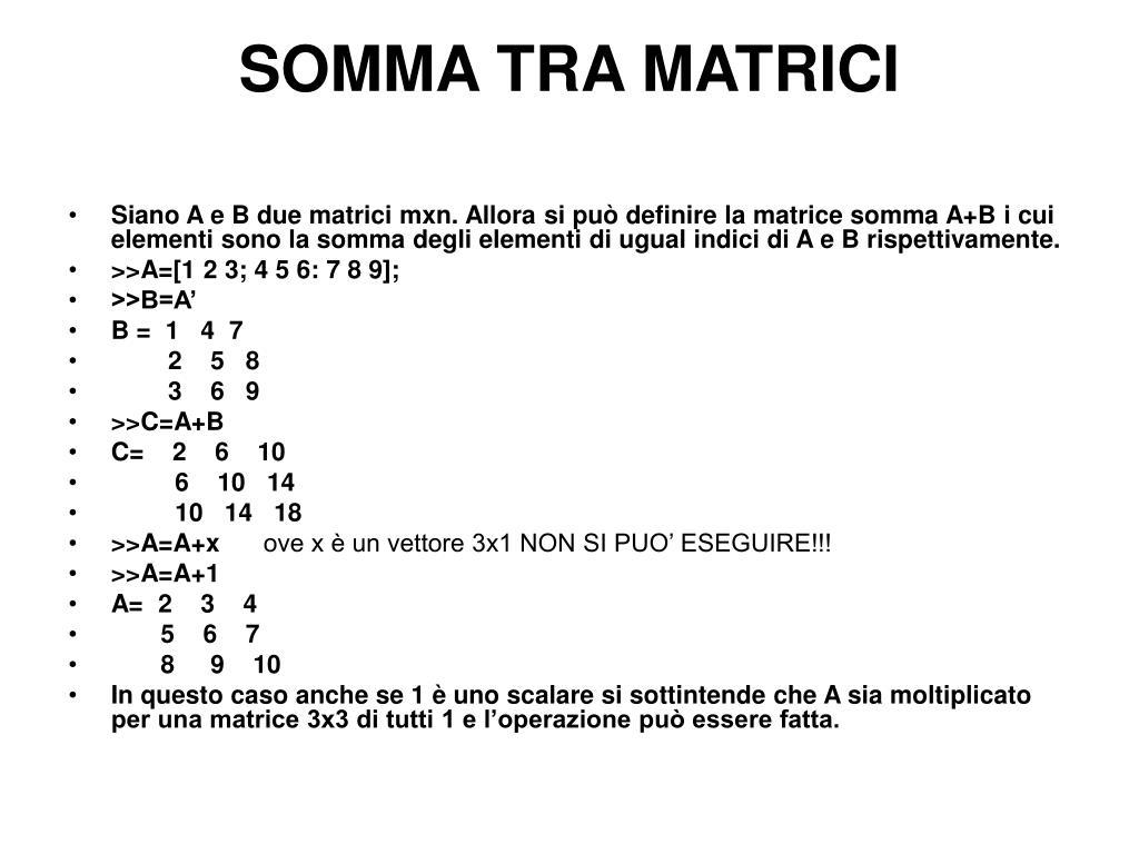 Somma Tra Matrici.Ppt Costanti Predefinite Powerpoint Presentation Id 571985