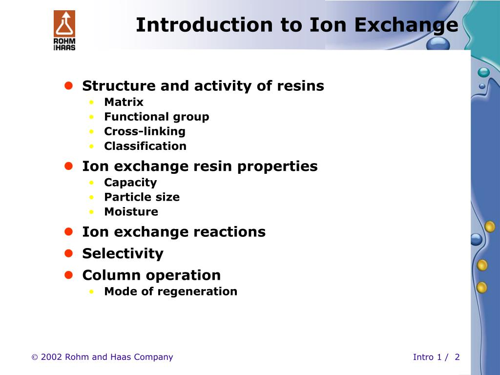 PPT - INTRODUCTION to ION EXCHANGE Part 1 PowerPoint