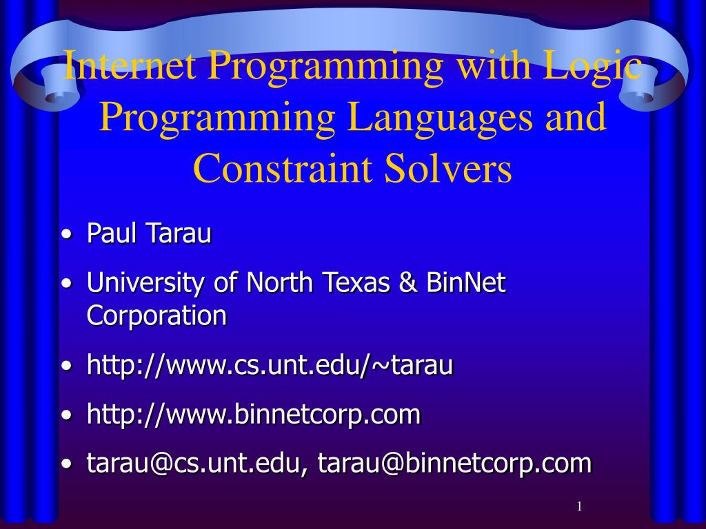 internet programming with logic programming languages and constraint solvers l.