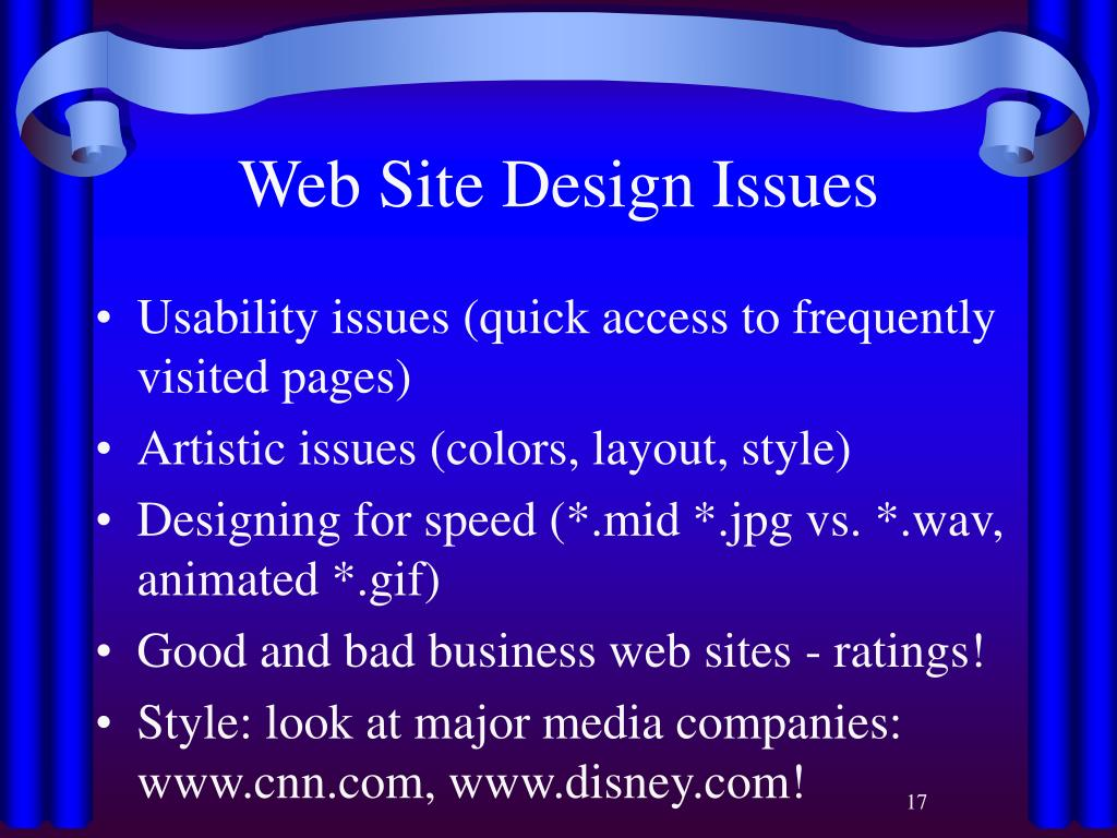 Web Site Design Issues