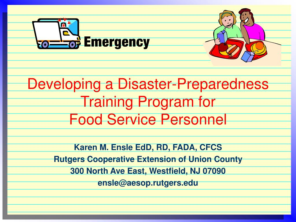 developing a disaster preparedness training program for food service personnel l.
