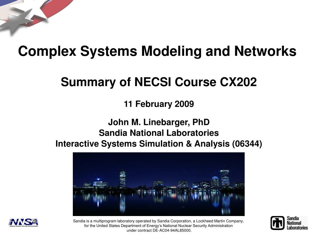 complex systems modeling and networks l.