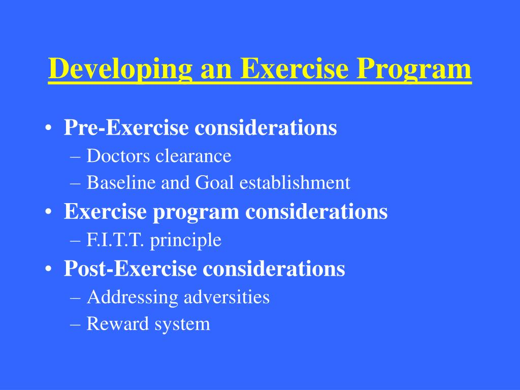 developing an exercise program l.