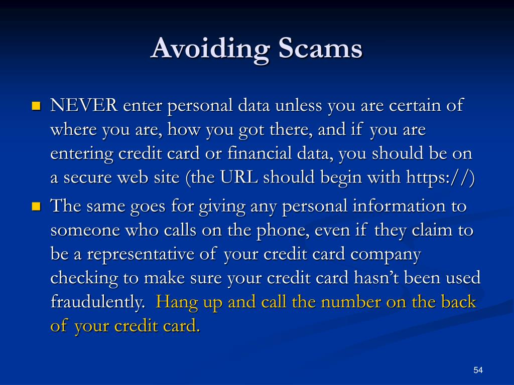 Avoiding Scams