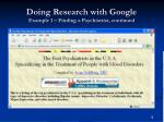 doing research with google example 1 finding a psychiatrist continued16