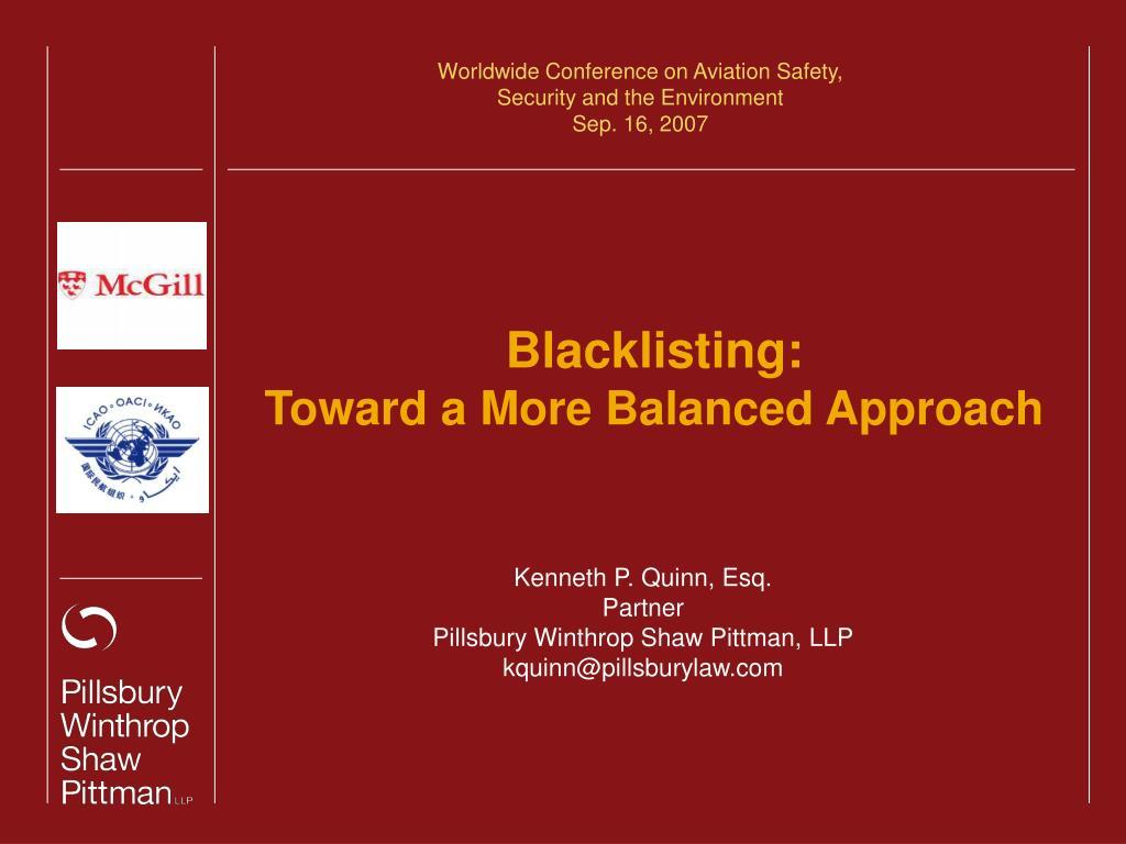 blacklisting toward a more balanced approach l.
