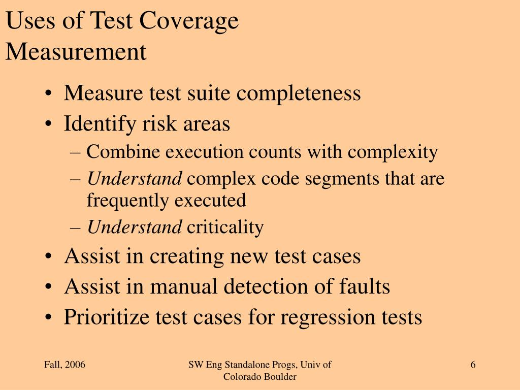 Uses of Test Coverage Measurement