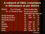a network of cbos volunteers in kilimanjaro as per district