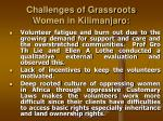 challenges of grassroots women in kilimanjaro