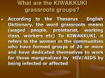 what are the kiwakkuki grassroots groups
