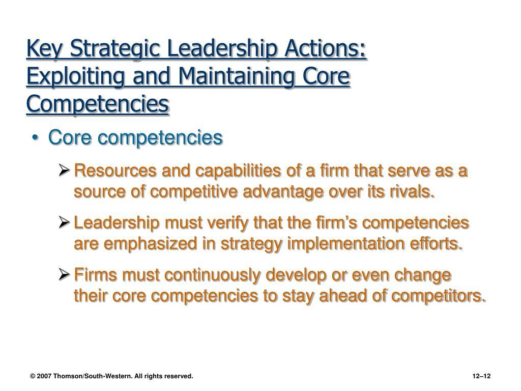 Key Strategic Leadership Actions: