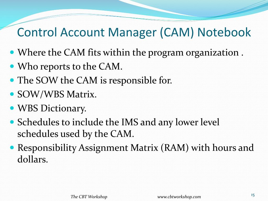 Control Account Manager (CAM) Notebook