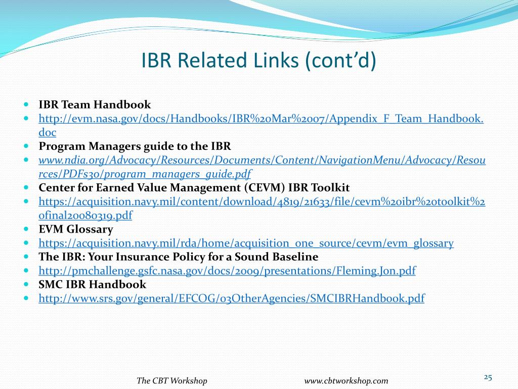 IBR Related Links (cont'd)