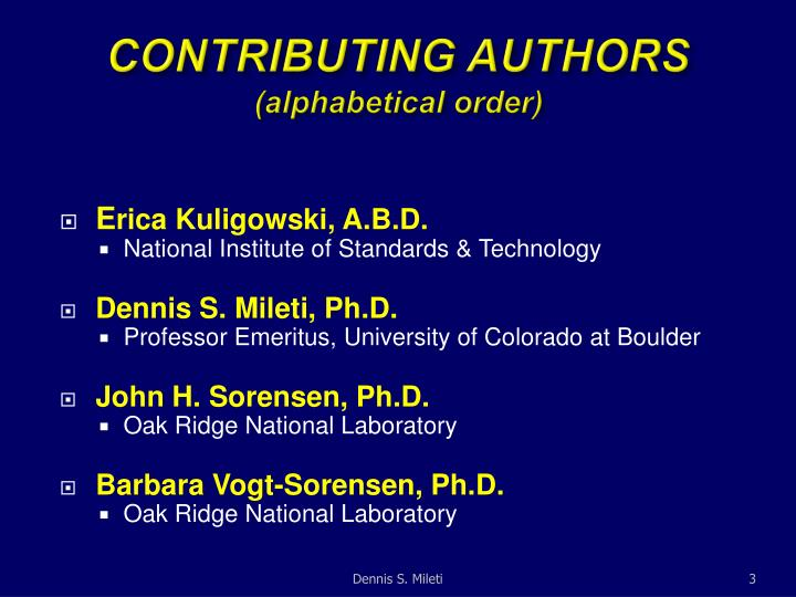 Contributing authors alphabetical order