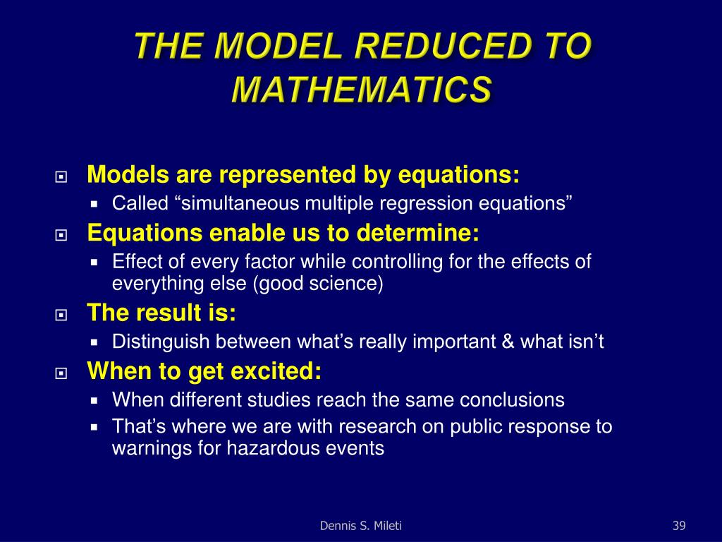 THE MODEL REDUCED TO MATHEMATICS