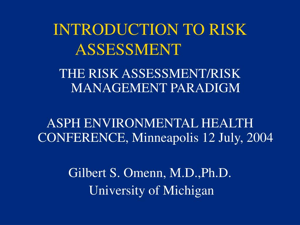 introduction to risk assessment l.