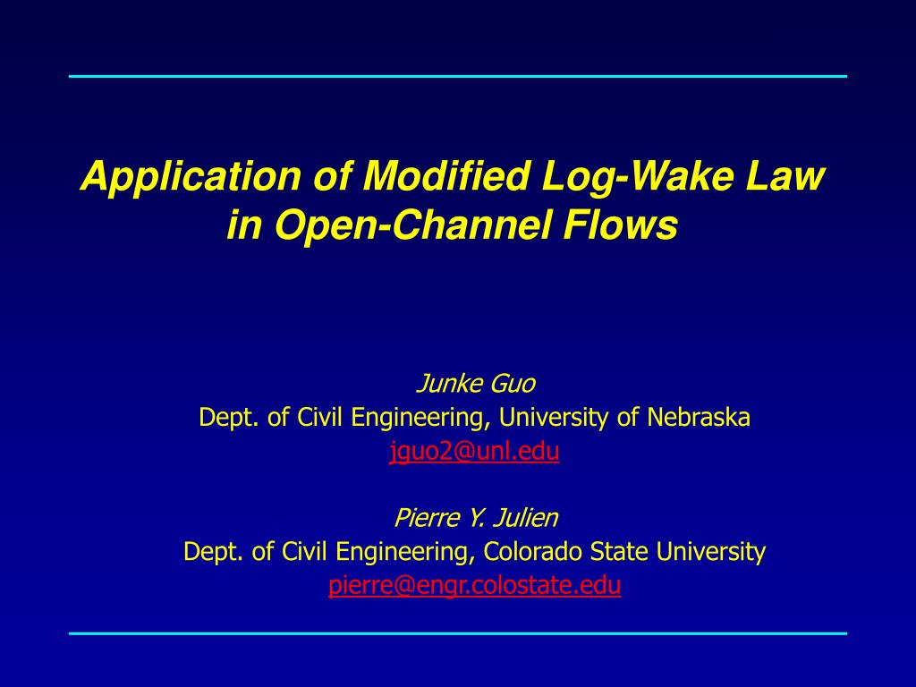 application of modified log wake law in open channel flows l.