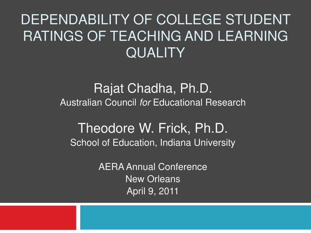 dependability of college student ratings of teaching and learning quality l.