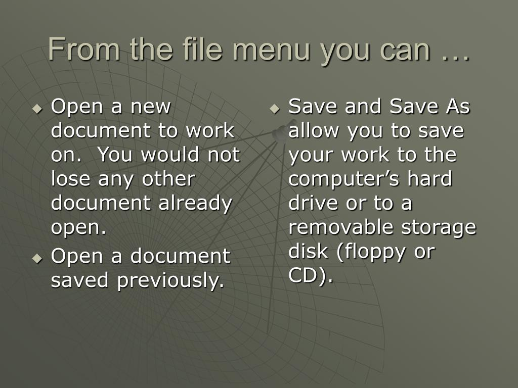 Open a new document to work on.  You would not lose any other document already open.