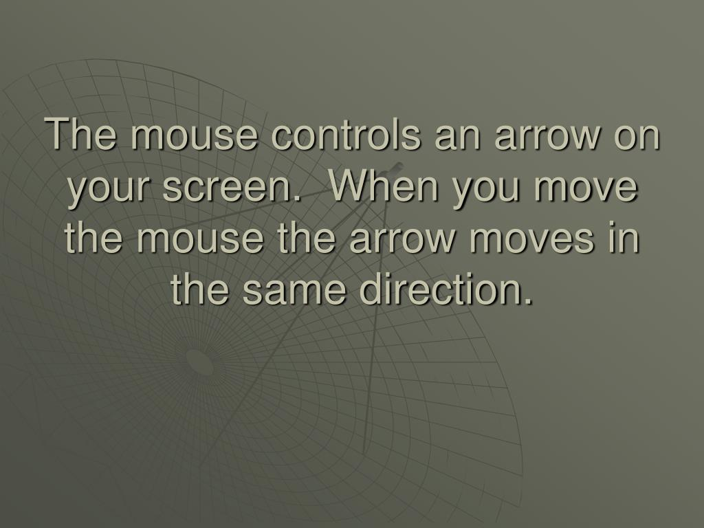 The mouse controls an arrow on your screen.  When you move the mouse the arrow moves in the same direction.