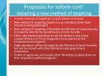 proposals for reform cont adopting a new method of targeting