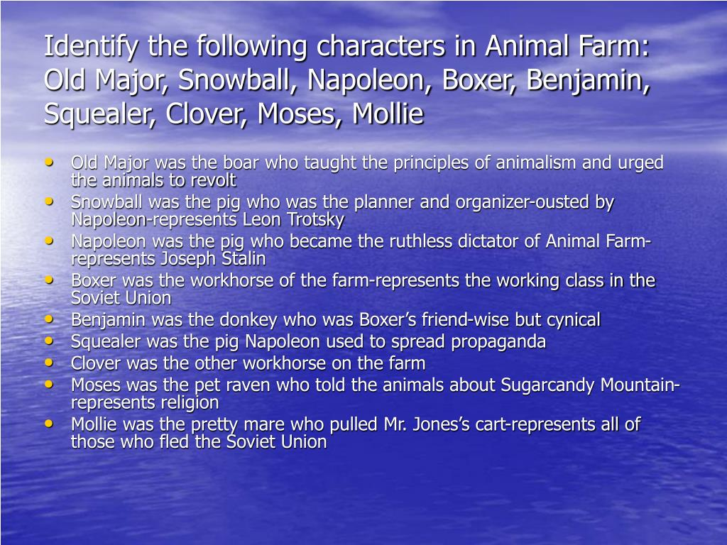 Identify the following characters in Animal Farm: Old Major, Snowball, Napoleon, Boxer, Benjamin, Squealer, Clover, Moses, Mollie