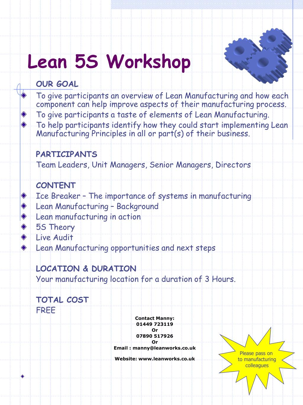 PPT - Lean 5S Workshop PowerPoint Presentation - ID:573720