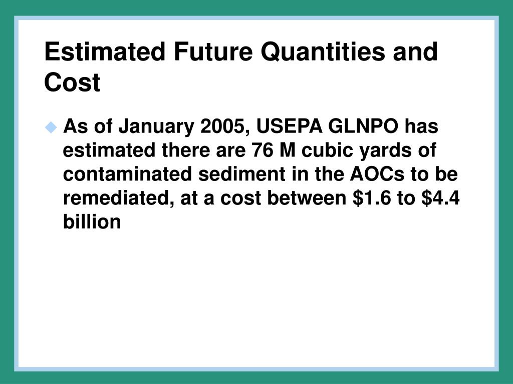 Estimated Future Quantities and Cost