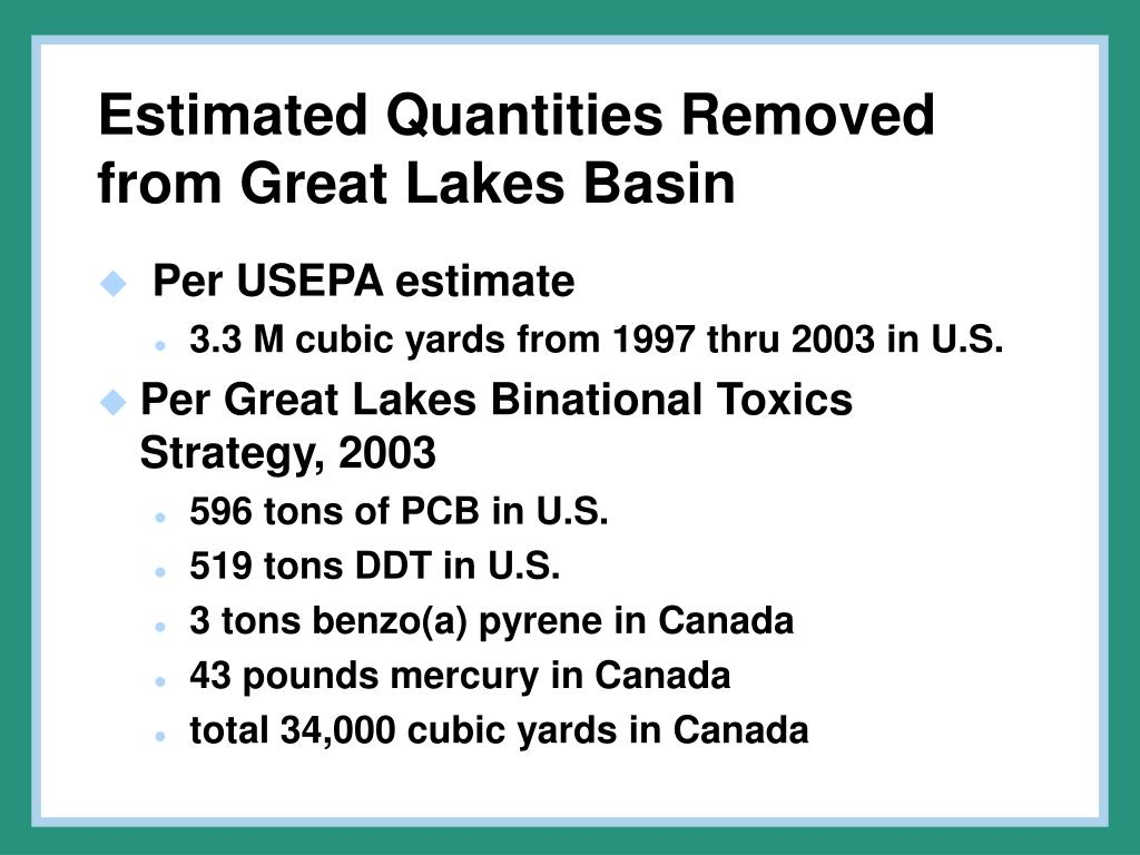 Estimated Quantities Removed from Great Lakes Basin