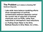 the problem as it relates to existing pbt sediment deposits