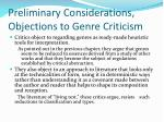 preliminary considerations objections to genre criticism