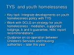 tys and youth homelessness