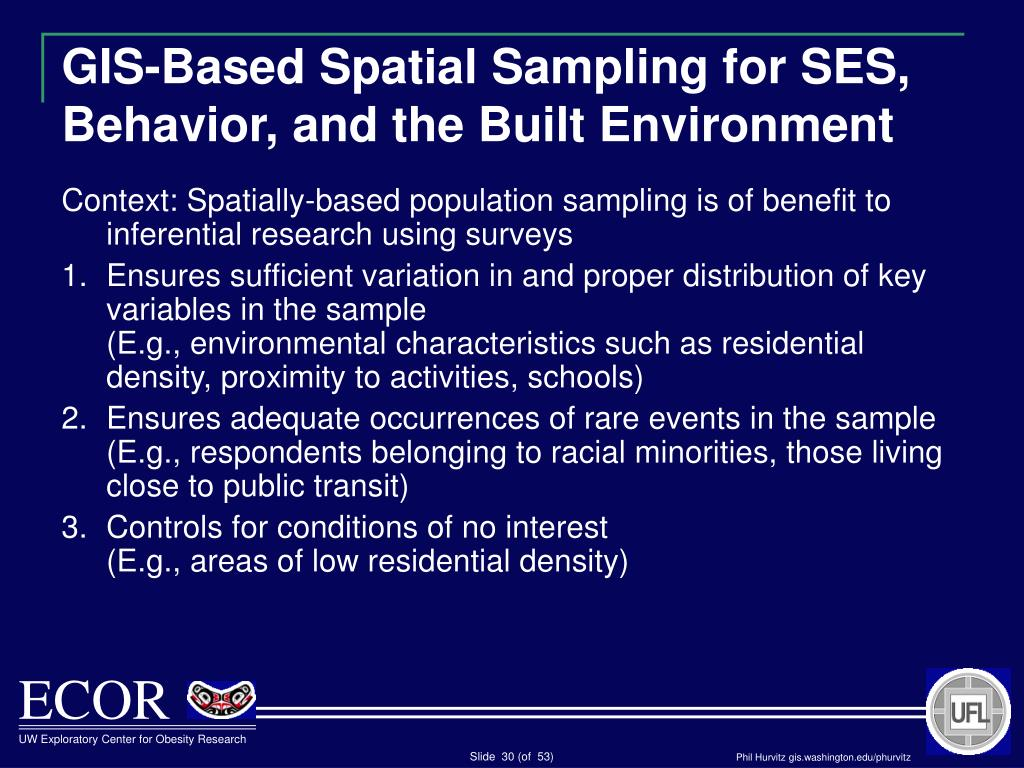 GIS-Based Spatial Sampling for SES, Behavior, and the Built Environment
