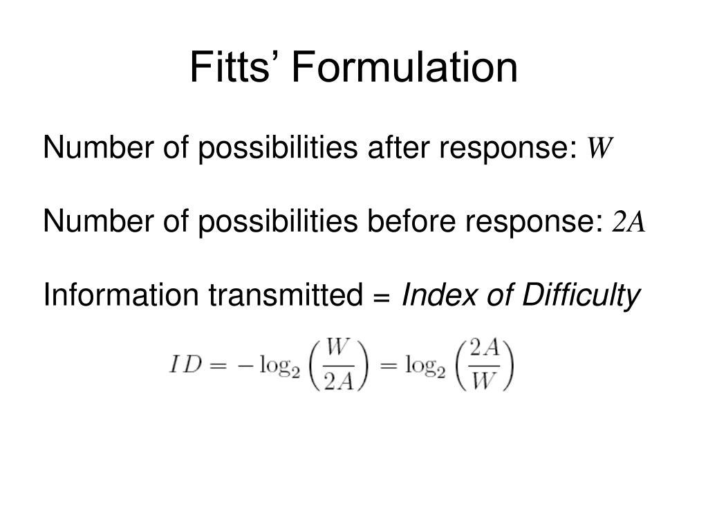 Fitts' Formulation