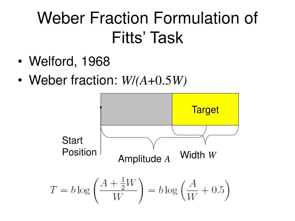 Weber Fraction Formulation of Fitts' Task