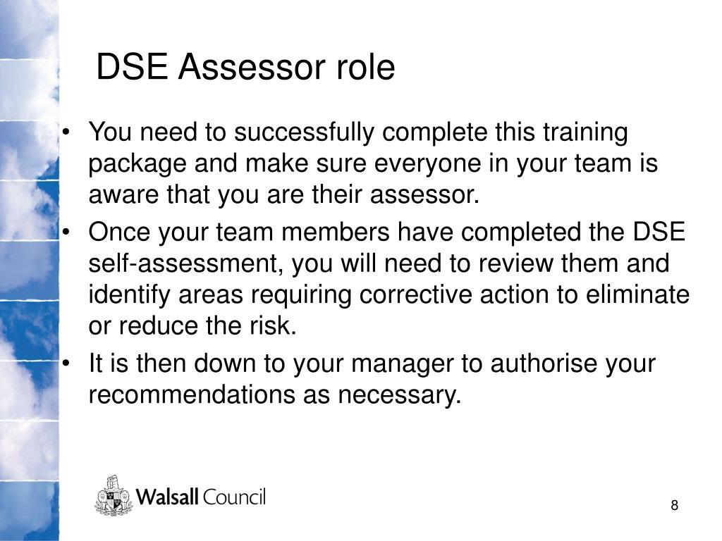DSE Assessor role