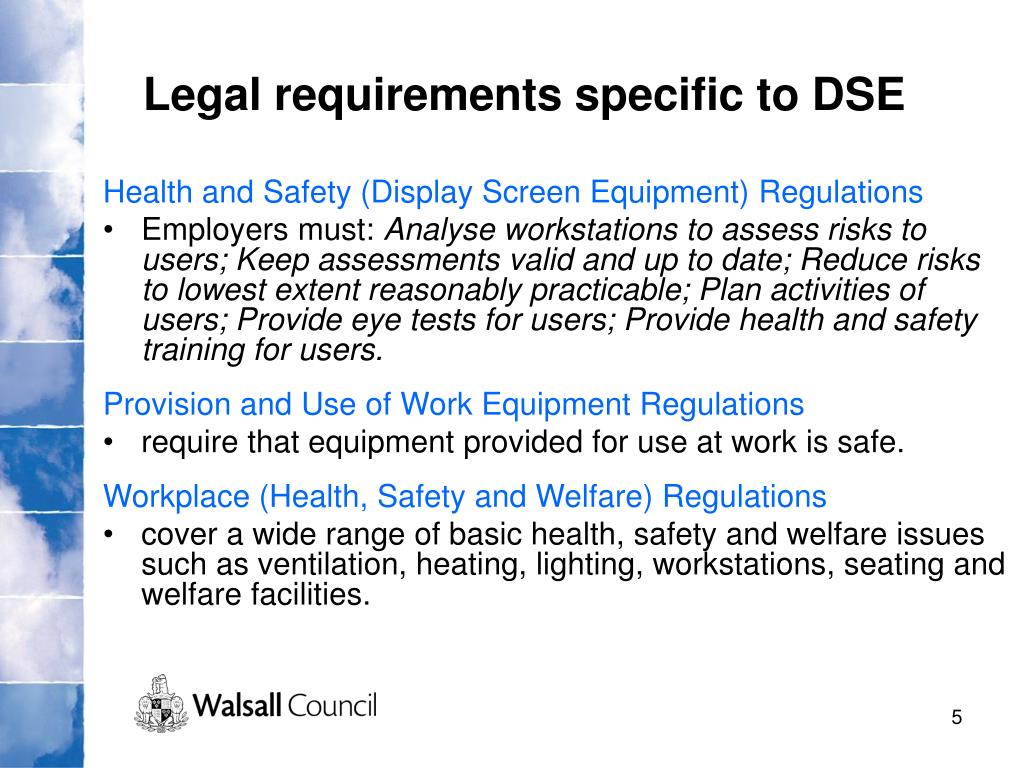 Legal requirements specific to DSE