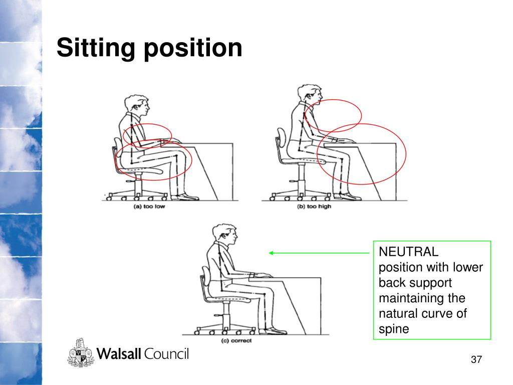 NEUTRAL position with lower back support maintaining the natural curve of spine