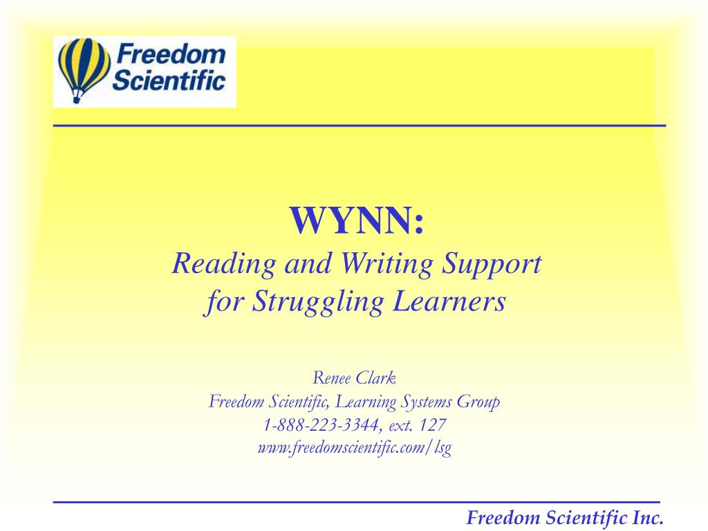 wynn reading and writing support for struggling learners l.